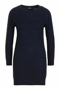 Womens Soft Knit Jumper Dress - blue - S, Blue