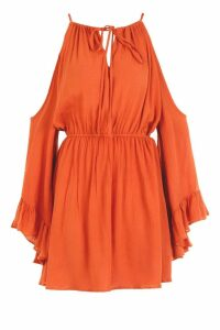 Womens Cold Shoulder Angel Sleeve Shift Dress - orange - 8, Orange