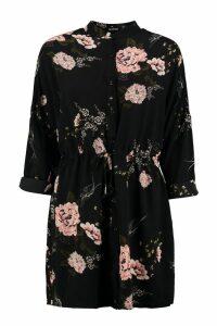 Womens Floral Shirt Dress - black - 16, Black