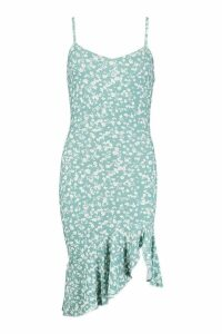 Womens Ditsy Print Strap Dress With Waterfall Hem - green - 12, Green