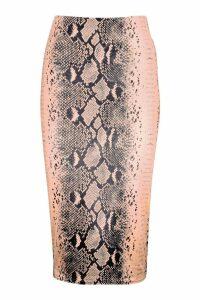 Womens Snake Print Slinky Ruched Midi Skirt - brown - 8, Brown