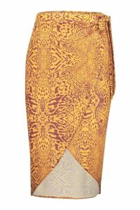 Womens Animal Print Wrap Midi Skirt - orange - 12, Orange