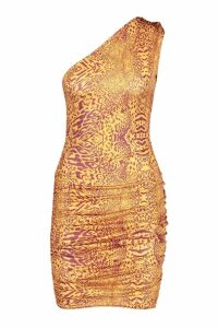 Womens Animal Print One Shoulder Bodycon Dress - orange - 12, Orange