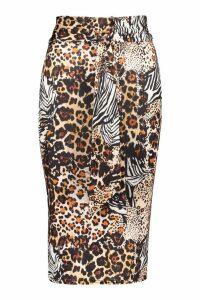 Womens Animal Print Belted Midi Skirt - black - 6, Black