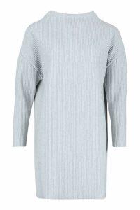Womens Ribbed Funnel Neck Sweat Dress - grey - 8, Grey