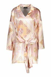 Womens Satin Scarf Print Tie Front Shirt Dress - Pink - 10, Pink