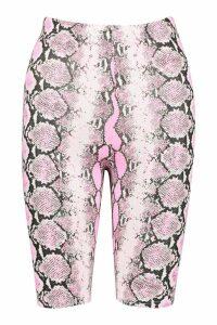 Womens Neon Snake Cycling Short - Pink - 8, Pink