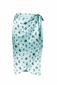 Womens Satin Leopard Print Wrap Skirt - blue - 12, Blue