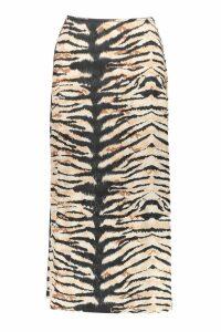 Womens Tiger Print Slinky Bias Cut Midi Skirt - brown - 8, Brown