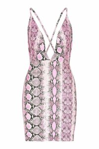 Womens Neon Snake Extreme Plunge Bodycon Dress - Pink - 10, Pink