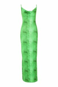 Womens Croc Print Slinky Cowl Neck Maxi Dress - green - 8, Green