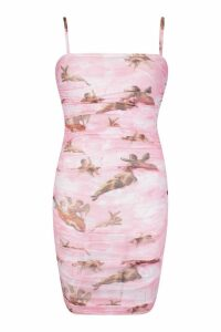Womens Ruched Mesh Cherrub Print Mini Dress - Pink - 20, Pink