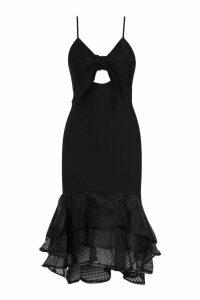 Womens Bow Detail Frill Hem Strappy Midi Dress - black - L, Black
