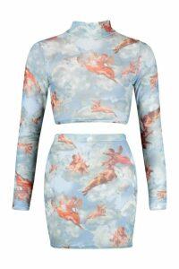 Womens Cherub Print Mesh High Neck Top & Mini Skirt Co-Ord - blue - 12, Blue