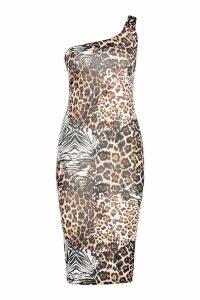 Womens Animal Print One Shoulder Midi Dress - black - 8, Black