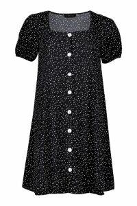 Womens Woven Button Through Shift Dress - black - 8, Black