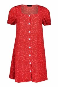 Womens Woven Button Through Shift Dress - red - 14, Red