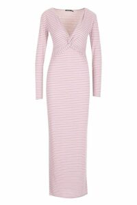 Womens Rib Plunge Knot Front Stripe Maxi Dress - Pink - 14, Pink