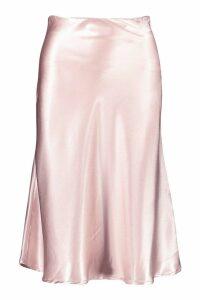 Womens Bias Satin Slip Midi Skirt - Beige - 12, Beige