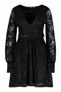 Womens Belted Plunge Lace Skater Dress - black - 10, Black
