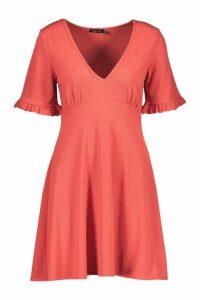 Womens Frill Sleeve V Neck Skater Dress - orange - 16, Orange