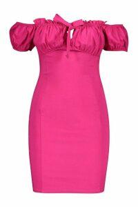 Womens Peasant Ruffle Detail Bodycon Dress - Pink - 8, Pink