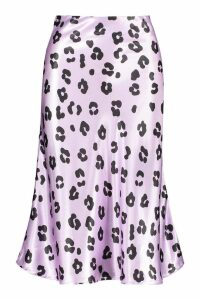 Womens Pastel Leopard Bias Satin Midi Skirt - purple - 12, Purple