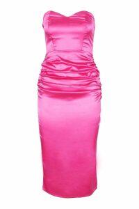 Womens Satin Ruched Bandeau Midi Dress - Pink - 24, Pink