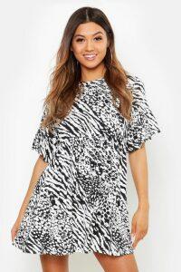Womens Animal Print Smock Dress - black - 12, Black