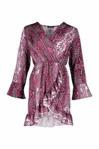 Womens Satin Snake Ruffle Tea Dress - purple - M, Purple