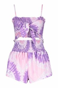 Womens Tie Dye Shirred Top & Short Co-ord - purple - 12, Purple
