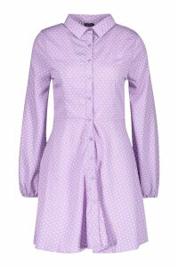 Womens Woven Button Through Polka Dot Shirt Dress - purple - 10, Purple