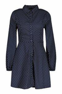 Womens Woven Button Through Polka Dot Shirt Dress - navy - 12, Navy