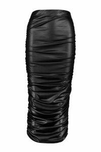 Womens Leather Look PU Ruched Midi Skirt - black - 6, Black
