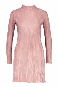 Womens Crinkle High Neck Shift Dress - pink - 8, Pink
