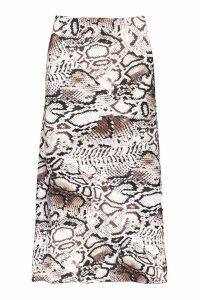 Womens Bias Cut Snake Print Midi Skirt - white - 8, White
