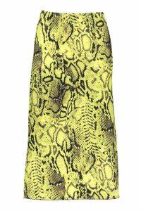 Womens Bias Cut Snake Print Midi Skirt - green - 14, Green