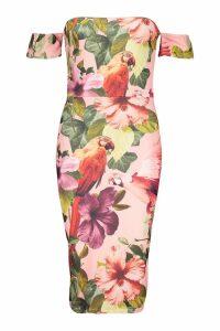 Womens Floral Bandeau Bodycon Midi Dress - Pink - 6, Pink