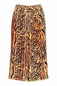 Womens Zebra Ombre Pleated Midi Skirt - orange - 8, Orange