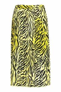 Womens Zebra Ombre Pleated Midi Skirt - yellow - 10, Yellow