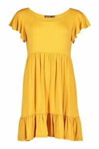 Womens Jersey Frill Hem Babydoll Dress - yellow - 12, Yellow