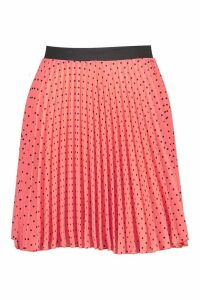 Womens Spot Elastic Waist Pleated Mini Skirt - orange - 12, Orange