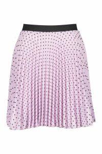 Womens Spot Elastic Waist Pleated Mini Skirt - purple - 12, Purple