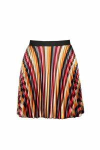 Womens Striped Satin Mini Skirt - multi - 10, Multi