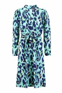 Womens One Shoulder Leopard Midi Dress - blue - 12, Blue