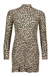Womens Leopard Crinkle High Neck Shift Dress - cream - 12, Cream