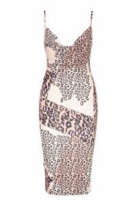 Womens Slinky Mixed Leopard Cowl Midi Dress - brown - 6, Brown
