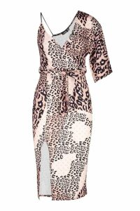 Womens Mixed Leopard Assymetric Midi Dress - brown - 10, Brown