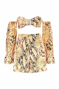 Womens Snake Tortoise Shell Buckle Top & Short Co-Ord - brown - 14, Brown