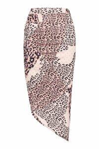 Womens Slinky Mixed Leopard Print Wrap Mini Skirt - brown - 10, Brown